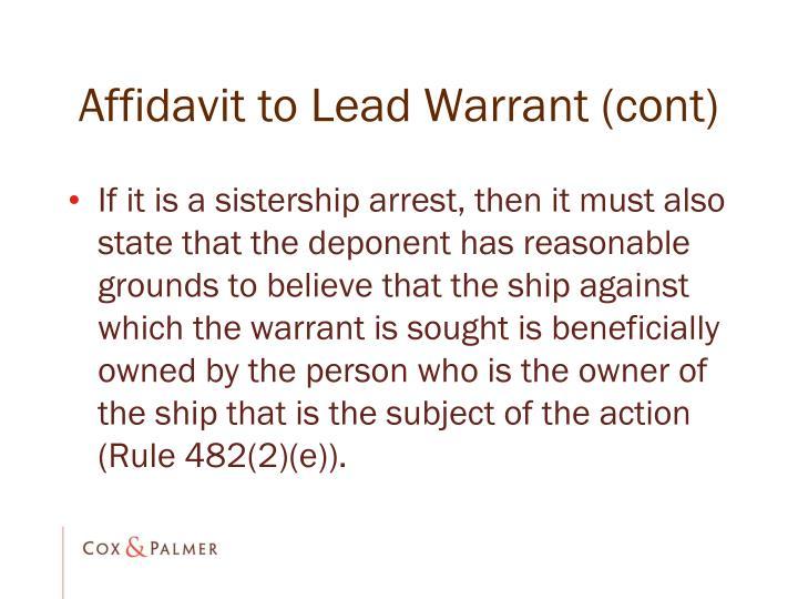 Affidavit to Lead Warrant (cont)