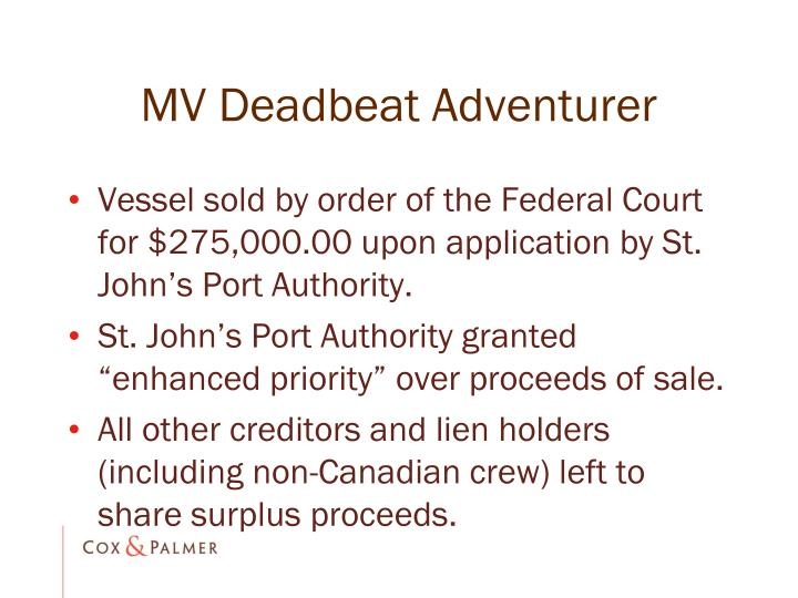 MV Deadbeat Adventurer