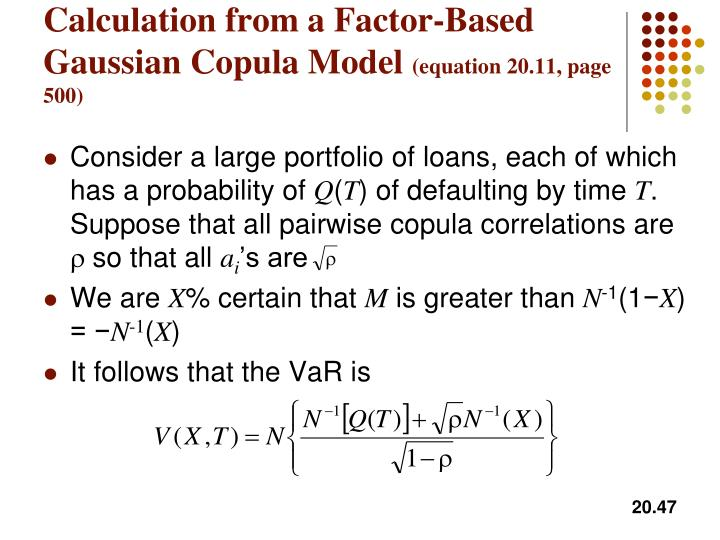 Calculation from a Factor-Based Gaussian Copula Model