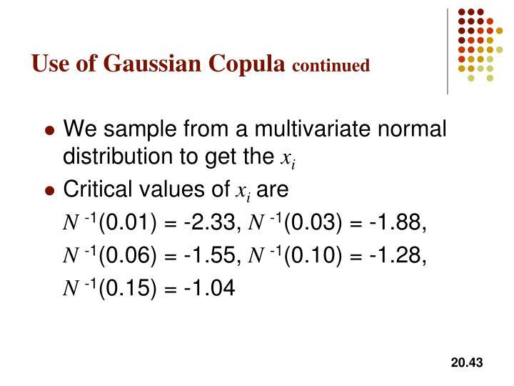 Use of Gaussian Copula