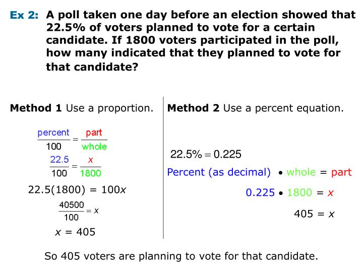 A poll taken one day before an election showed that 22.5% of voters planned to vote for a certain candidate. If 1800 voters participated in the poll, how many indicated that they planned to vote for that candidate?