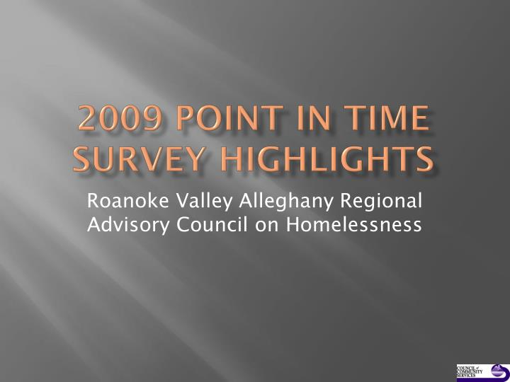 2009 point in time survey highlights n.