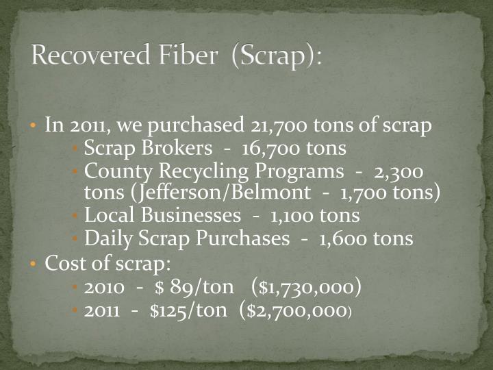 Recovered Fiber  (Scrap):
