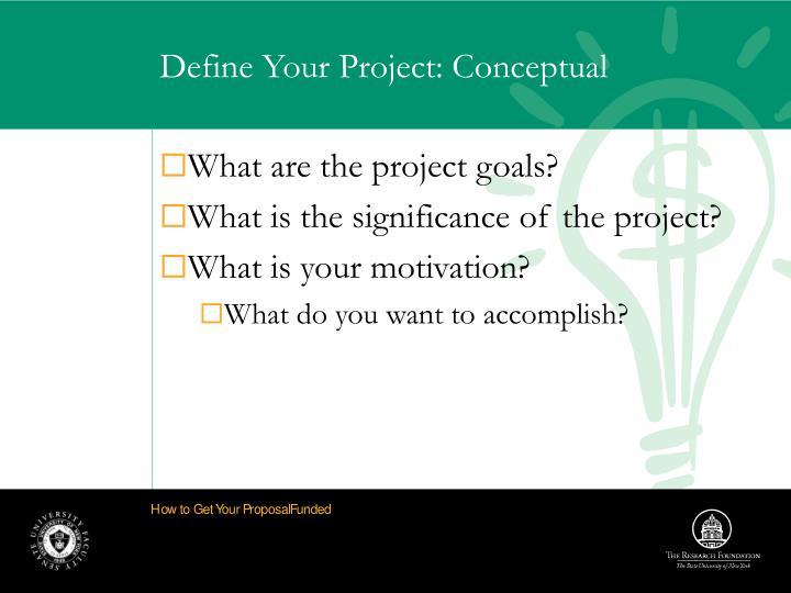 Define Your Project: Conceptual