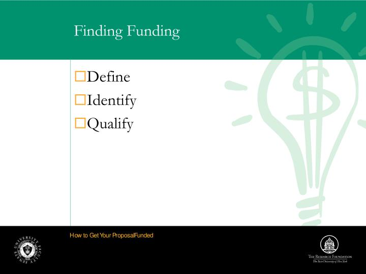 Finding funding1