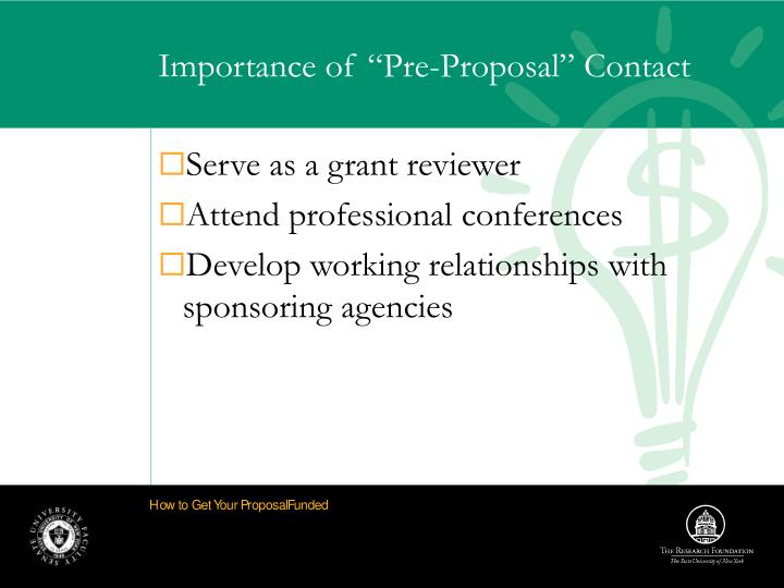"""Importance of """"Pre-Proposal"""" Contact"""