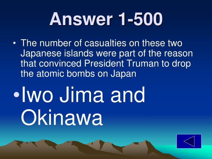 Answer 1-500