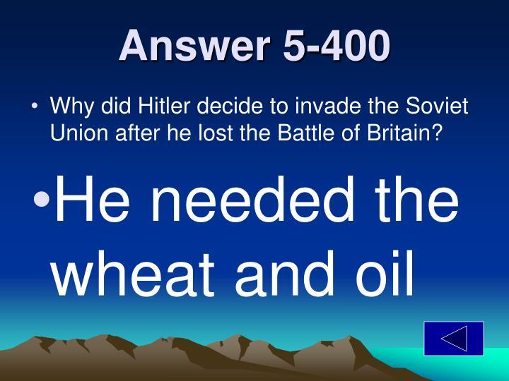 Answer 5-400