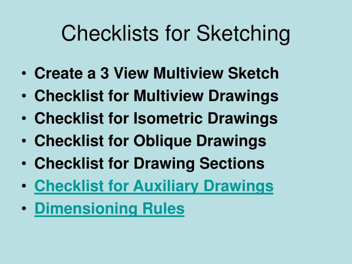 checklists for sketching n.