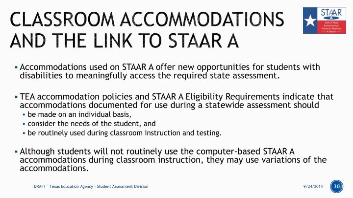 Classroom Accommodations and the Link to STAAR