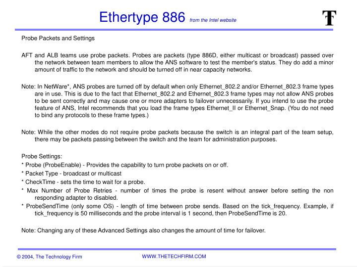 ethertype 886 from the intel website n.