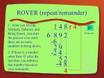 rover repeat remainder