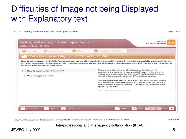 Difficulties of Image not being Displayed with Explanatory text
