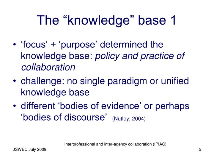 """The """"knowledge"""" base 1"""