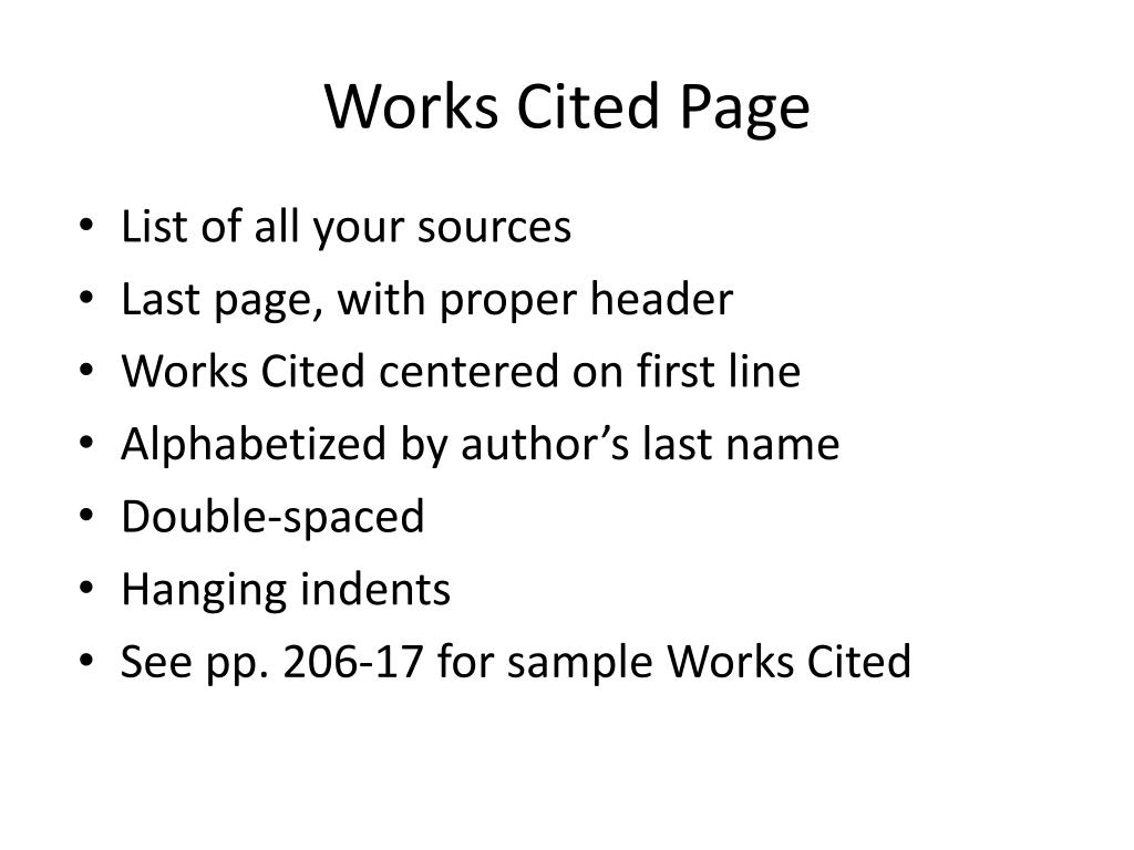work cited page how to