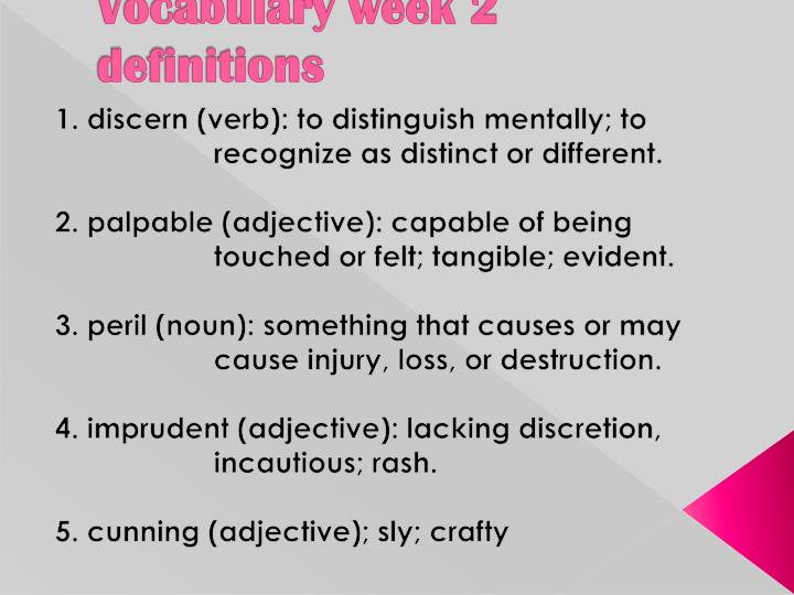 vocabulary week 2 definitions n.
