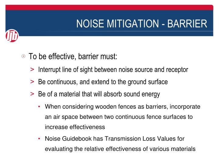 Noise mitigation barrier1