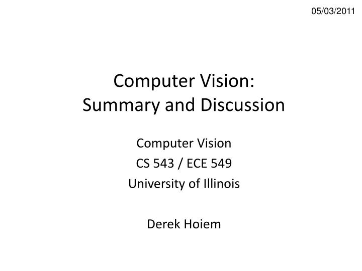 computer vision summary and discussion n.