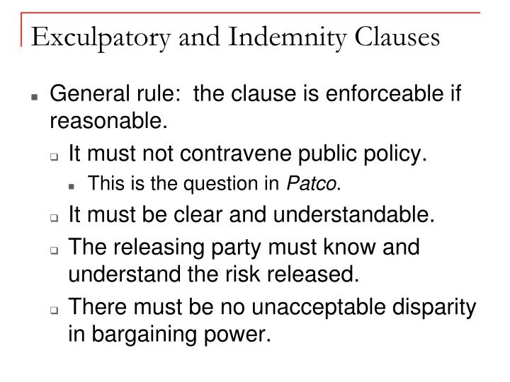 Ppt Indemnity And Exculpatory Clauses Powerpoint Presentation Id