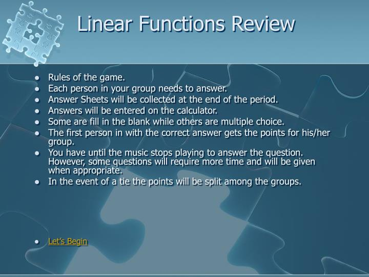 linear functions review n.