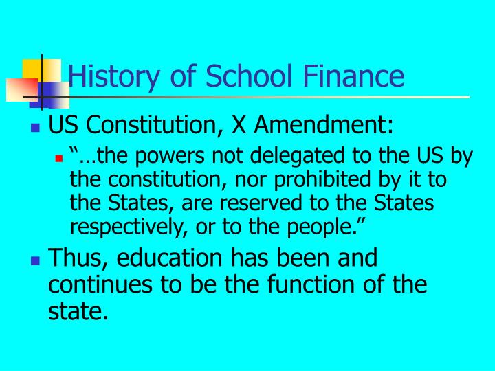 History of School Finance