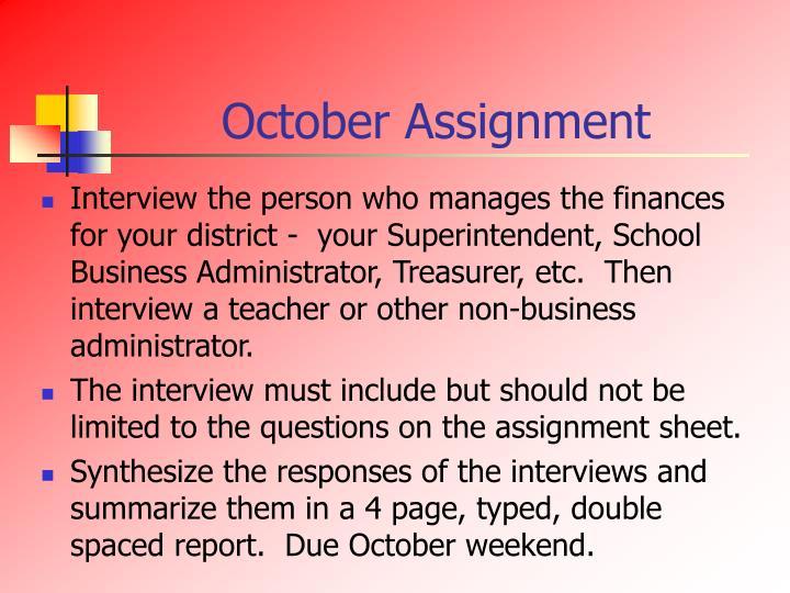 October Assignment