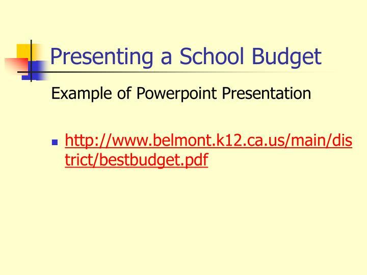 Presenting a School Budget