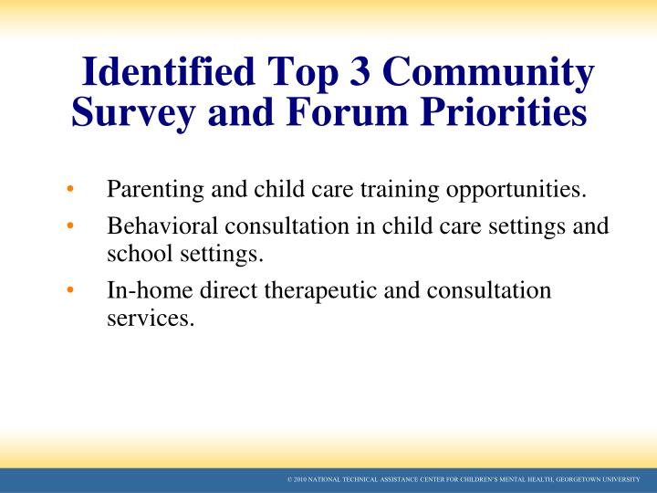 Identified Top 3 Community Survey and Forum Priorities