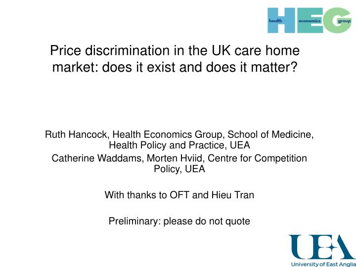 price discrimination in the uk care home market does it exist and does it matter n.