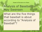 analysis of baseball by may swensen