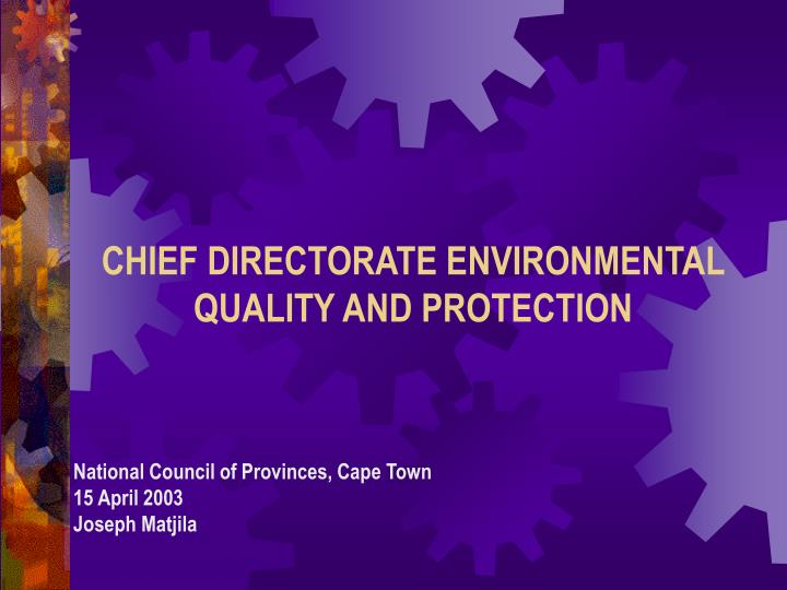 chief directorate environmental quality and protection n.
