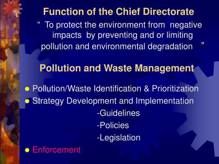 Function of the chief directorate