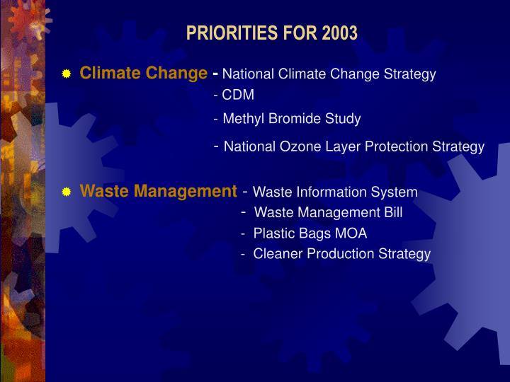 PRIORITIES FOR 2003