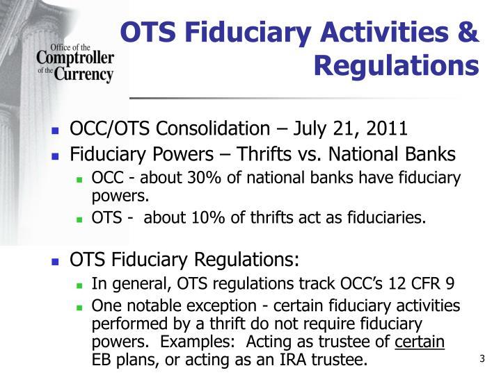 Ots fiduciary activities regulations