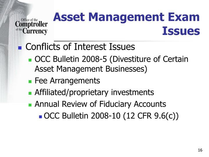 Asset Management Exam Issues