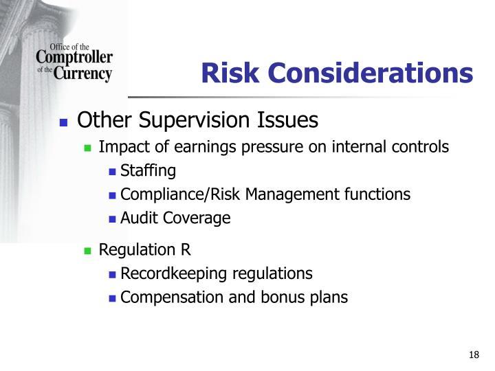 Risk Considerations