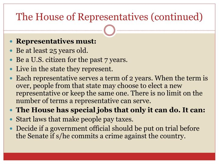 The House of Representatives (continued)