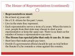 the house of representatives continued