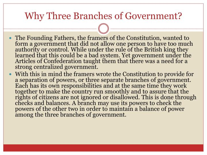 Why Three Branches of Government?