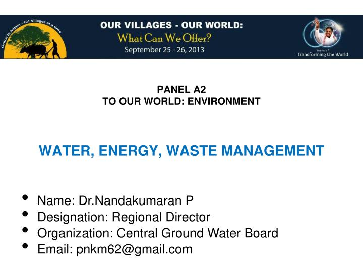 panel a2 to our world environment n.