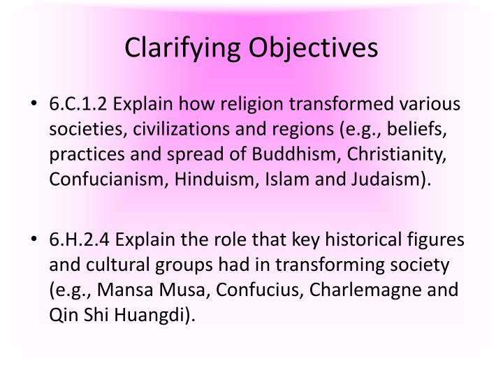 Clarifying objectives