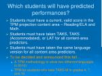 which students will have predicted performances