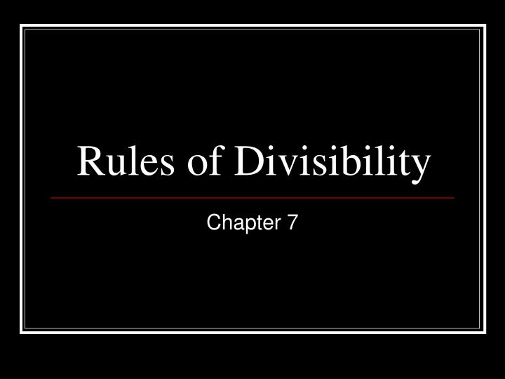 rules of divisibility n.