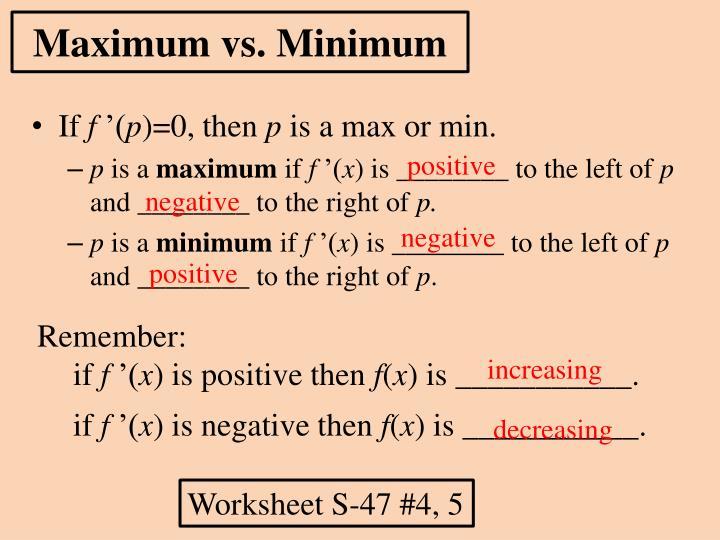 Maximum vs minimum