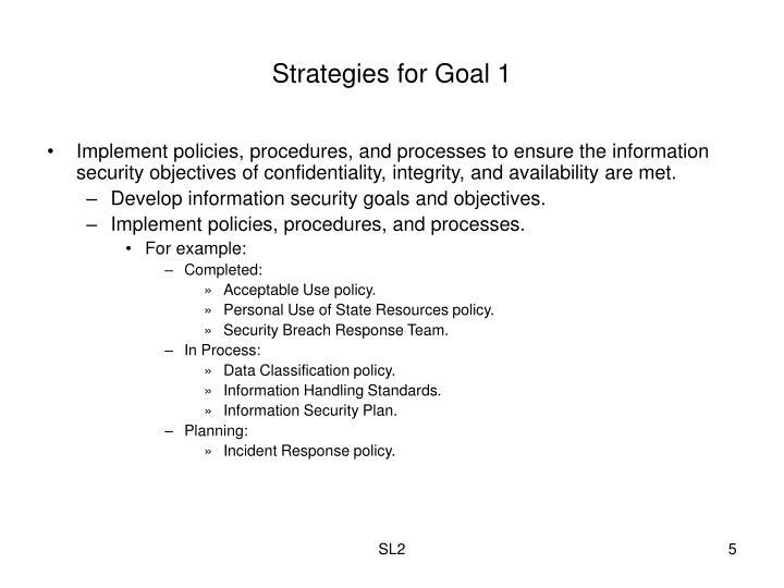 Strategies for Goal 1