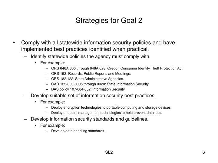 Strategies for Goal 2