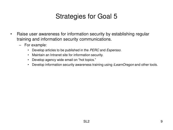 Strategies for Goal 5