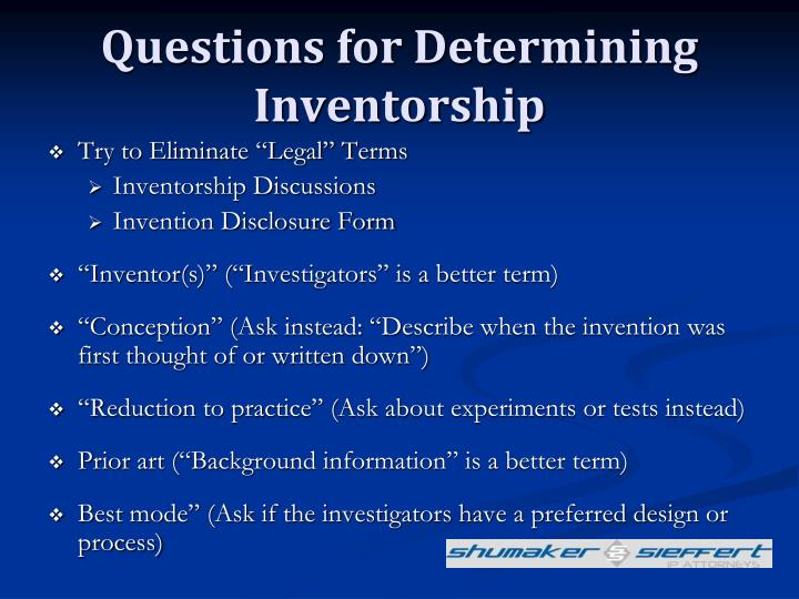 Questions for Determining Inventorship