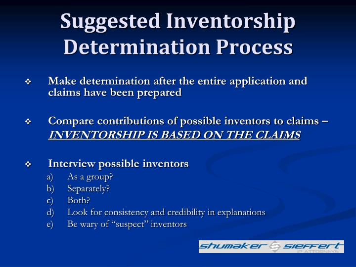 Suggested Inventorship Determination Process