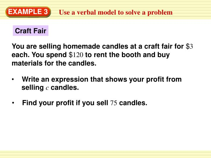 Write an expression that shows your profit from
